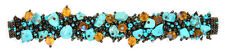 """#BR101 Artisan Turquoise Bronze Bracelet Crystal Beads Glass Magnetic Clasp 7.5"""""""