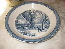 """Vintage Royal China Currier and Ives Snowy Morning 10"""" Pie Plate"""