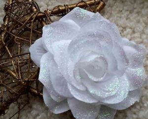 10cm CLIP ON CHRISTMAS TREE ROSE FLOWER DECORATION Sparkly White Hologram