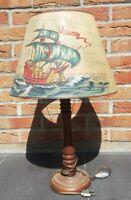 Ancienne lampe en bois style 1930 décoration bateau Caravelle H 61 Cm...