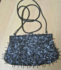 Lancome Gun Metal and Black Satin Beaded and Sequined Purse Clutch
