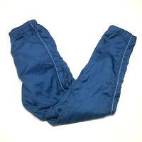 Vintage Nike Track Windbreaker Pants Mens S (2-4) Navy Blue Nylon Lined Swoosh