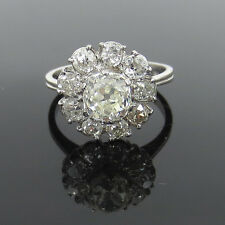Antique 2.25ct Old Mine Cut Diamond & Platinum Flower Cluster Ring Size 6.25