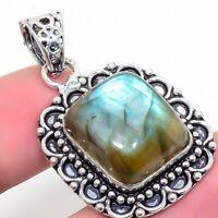"Labradorite Gemstone  Ethnic 925 Silver Jewelry Pendant 1.77"" AL-612"
