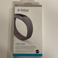 Genuine Fitbit Alta Leather Accessory Band Large/Graphite FB158LBGPL