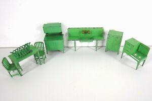 Vintage Tootsie Toy Toostietoy Metal Dollhouse Miniature Green Kitchen 7 Piece