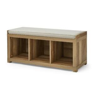 3-Cube Organizer Storage Bench Padded Seating Hallway Entryway Den Weathered Oak