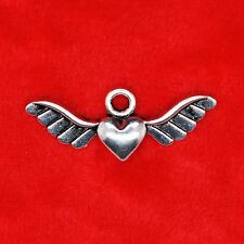 8 x Tibetan Silver Love Heart with Wing Charm Pendant Jewelry Making Craft