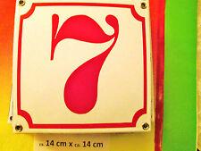 Hausnummer Emaille Nr. 7 rote Zahl auf weißem Hintergrund 14 cm x 14 cm