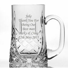 Personalised Lead Crystal 1 Pint Glass Tankard - Birthday, Wedding Engraved Free