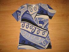 Women's Rick Cardona New York Stretch Multi Print Short Sleeve Top Size UK 12– M
