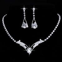 Women Party Prom Silver Crystal Necklace Earrings Wedding Bridal Jewelry Set