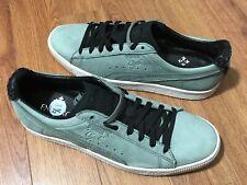 Puma Mens Clyde En Noir 364494 02 Greyish Green with Black & Green Laces Sz 9.5