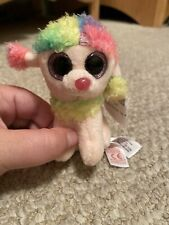 Ty Beanie Boos Rainbow Poodle Puppy Dog Plush Backpack Key Chain Clip
