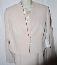 KAREN MILLER blush beige MOB maxi dress Jacket gown set wedding 12 P L NEW $299
