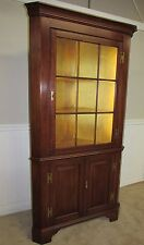 HENKEL HARRIS SOLID CHERRY CORNER CABINET, CURIO, 9 PANE WAVY GLASS CHINA CLOSET
