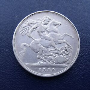 1889 Queen Victoria silver crown coin FREE UK P&P