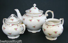 3 PC SET GRACIE PETITE FLEUR PINK FLOWERS PORCELAIN TEA POT,SUGAR HOLDER+CREAMER