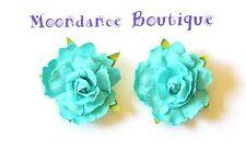 """1"""" Light Turquoise Rose Paper Flower Pierced Earrings"""