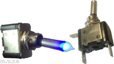 NEW ON OFF METAL TOGGLE FLIP FLICK SWITCH WITH BLUE LED TIP 12V 25A K894B