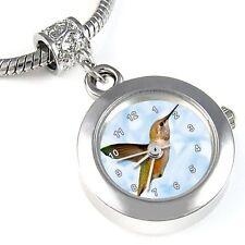 Hummingbird Silver Quartz Watch European Spacer Charm Bead For Bracelet EBA138