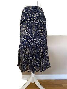 Ralph Lauren Women's Navy & Beige 100% Silk Floral Midi Lined Skirt Size 8