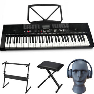 Full Size Electronic Keyboard 61 Keys Digital Piano Stool Stand Music Instrument