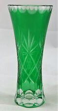 FOREST GREEN CUT TO CLEAR PINEAPPLE BOHEMIAN CZECH STYLE CUT GLASS BUD VASE