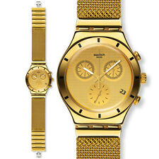 Chronograph Watch Men's Swatch Chrono Golden Cover Large Rare Collectible