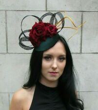 Black Bottle Green Burgundy Red Gold Rose Feather Hat Hair Clip Fascinator 7661