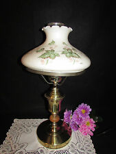 "LARGE VTG HAND PAINTED MATTE MILK GLASS GWTW HURRICANE SHADE TABLE LAMP 21"" TALL"