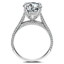 Round 4.3CT White Topaz Natural Diamond Luxurious Sterling Silver Gemstones Ring