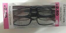 LOT OF 3 FOSTER GRANT HADLEY BLACK READING GLASSES +2.50 NEW