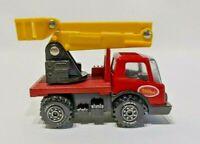 "Tonka Mites Cherry Picker w/Lift Bucket Truck #144 Japan, 4"",  Red Yellow, 1976"
