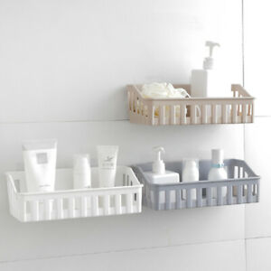 Wall Mounted Bathroom Storage Shelf Self-adhesive Kitchen Corner Holder Rack