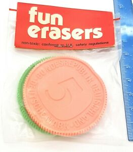 Vintage 80s Erasers Rubber Coins Currency New Sealed