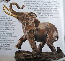 "NIB 1991 FRANKLIN MINT BRONZE ELEPHANT 10"" 7LB 24K GOLD PLATED TUSKS 10""x9""  COA"