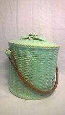 Vintage Biscuit Cookie Jar with handle, Made in Japan light blue-green ceramic