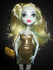 B1005) ALTE BARBIE MONSTER HIGH DOLL LAGUNA BLUE MATTEL GOLDENES KLEID+TASCHE