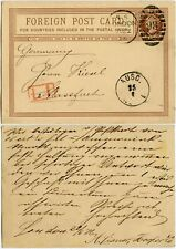 GB 1876 QV PENNY FARTHING STATIONERY CARD LATE FEE L1 to GERMANY LONDON DUPLEX