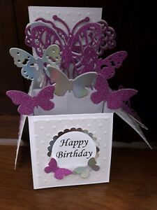 Beautiful handmade butterfly themed pop up greetings card In Non Shed Glitter