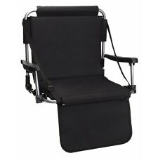 Stadium Chair Bleacher Seating Shoulder Strap Padded Foldable Black Blue or Red