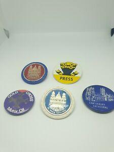 Bundle Of Vintage Badges Motor Show Press St Pauls Cathedral Etc