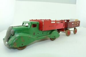 Marx Baggage Express Truck and Trailer w/load - pressed steel - USA 1940s