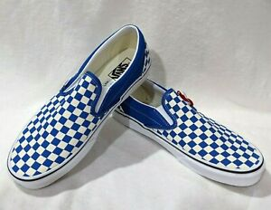 Vans Men's Classic Blue/White Checkerboard Slip On Shoes - Assorted Sizes  NWB