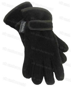 Girls Boys Kids Black Navy Thermal Lined Fleece Winter Warm Gloves Ages 6-16
