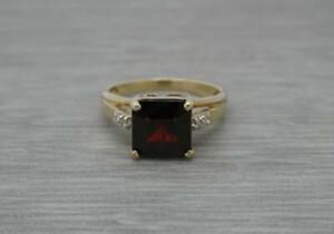 Beautiful 9ct Gold 3ct Natural Square Garnet Dia Solitaire Ring, UK Size N 1/2