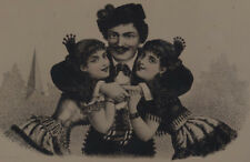 VERY RARE TINTYPE OF ILLUSTRATION OF FANCY MAN W/ WELL-DRESSED GIRLS