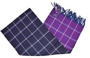 Seaward & Stearn NWT Wool & Angora Scarf In Intense Purple Blue & White Plaid