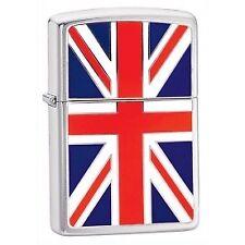 Zippo Union Jack Emblem Windproof Lighter Brushed Chrome Boxed